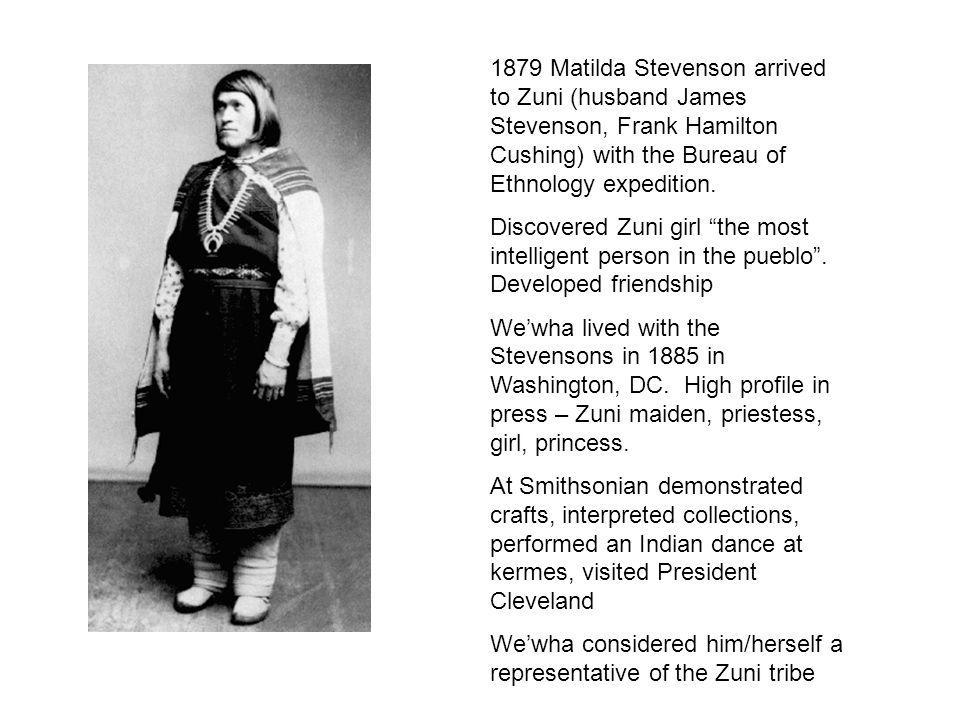 1879 Matilda Stevenson arrived to Zuni (husband James Stevenson, Frank Hamilton Cushing) with the Bureau of Ethnology expedition.
