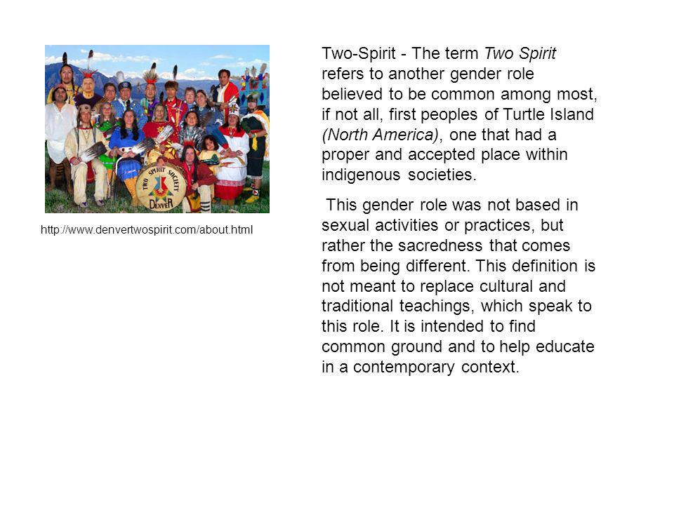 Two-Spirit - The term Two Spirit refers to another gender role believed to be common among most, if not all, first peoples of Turtle Island (North America), one that had a proper and accepted place within indigenous societies.