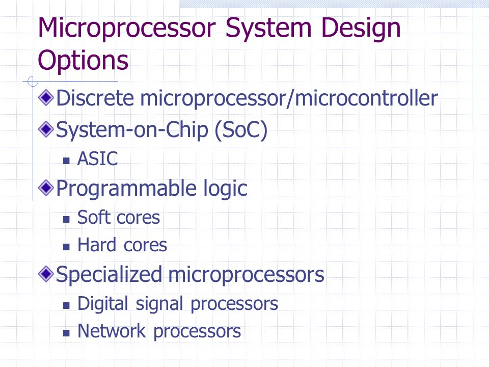 Microprocessor System Design Options