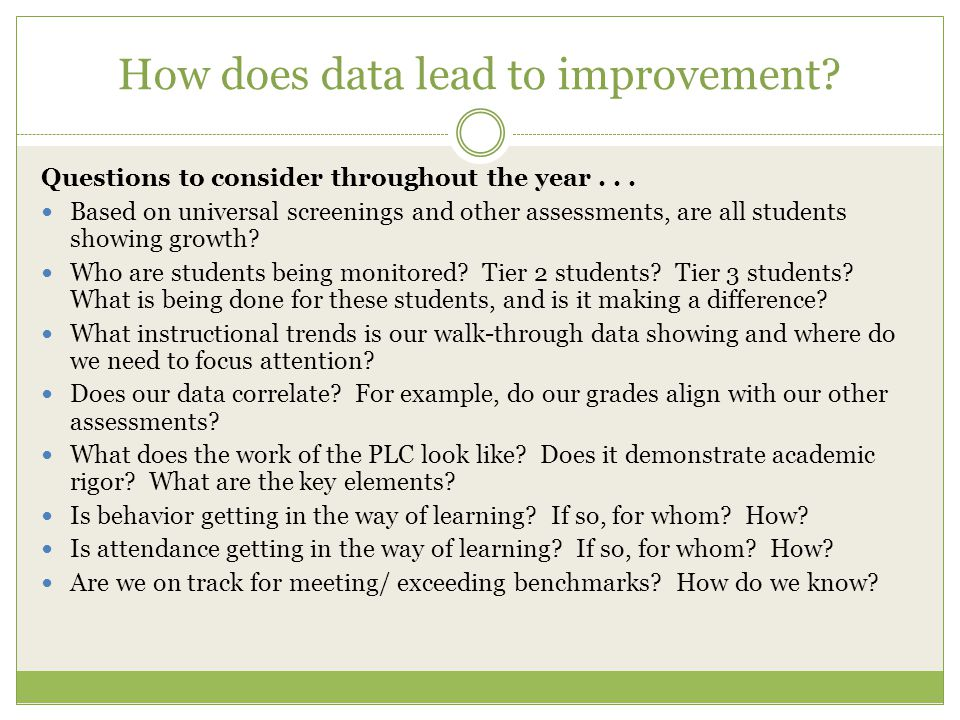 How does data lead to improvement