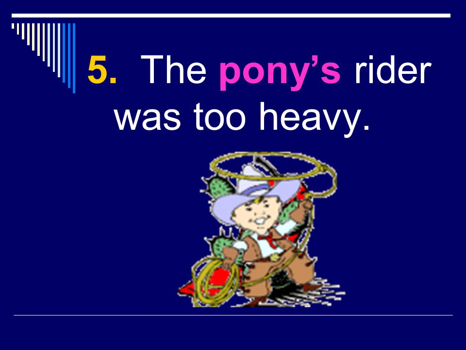 5. The pony's rider was too heavy.