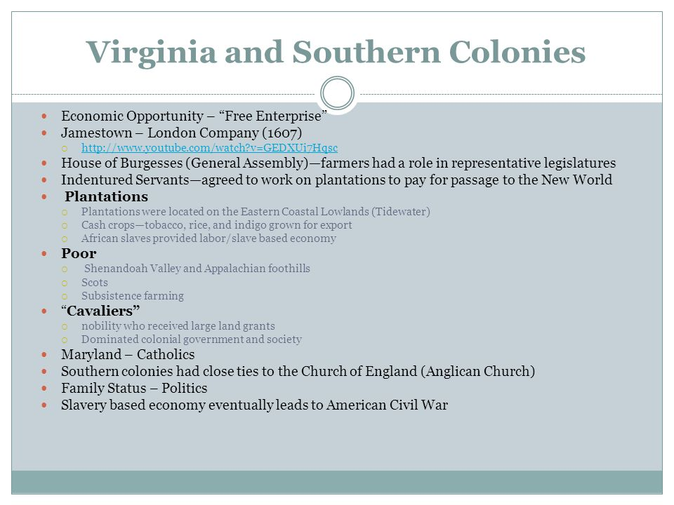 Virginia and Southern Colonies