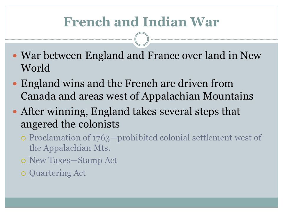 French and Indian War War between England and France over land in New World.