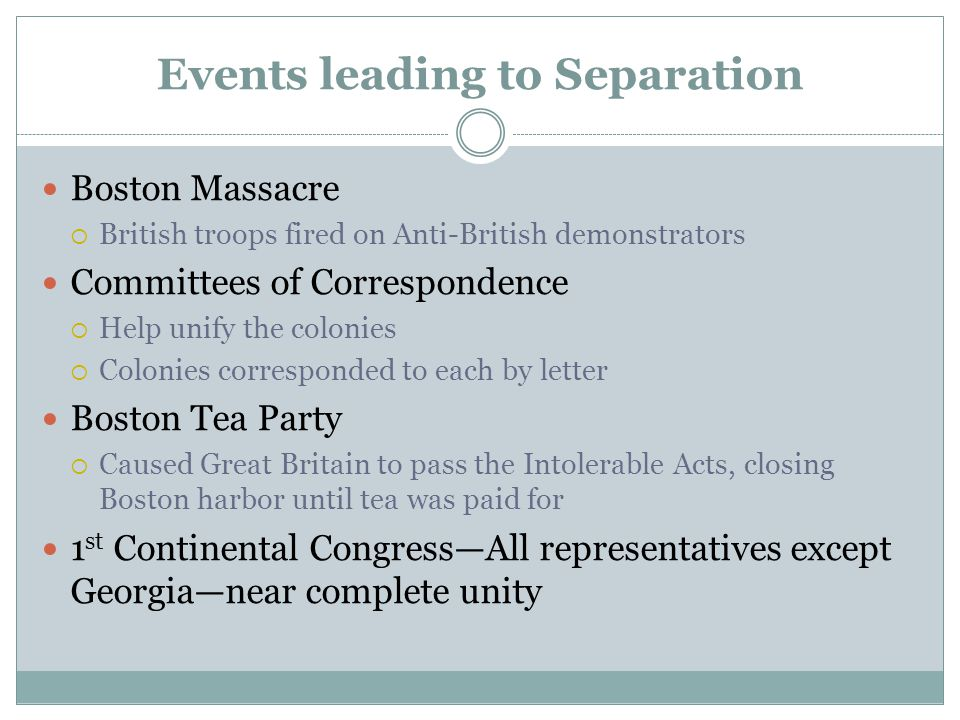 Events leading to Separation