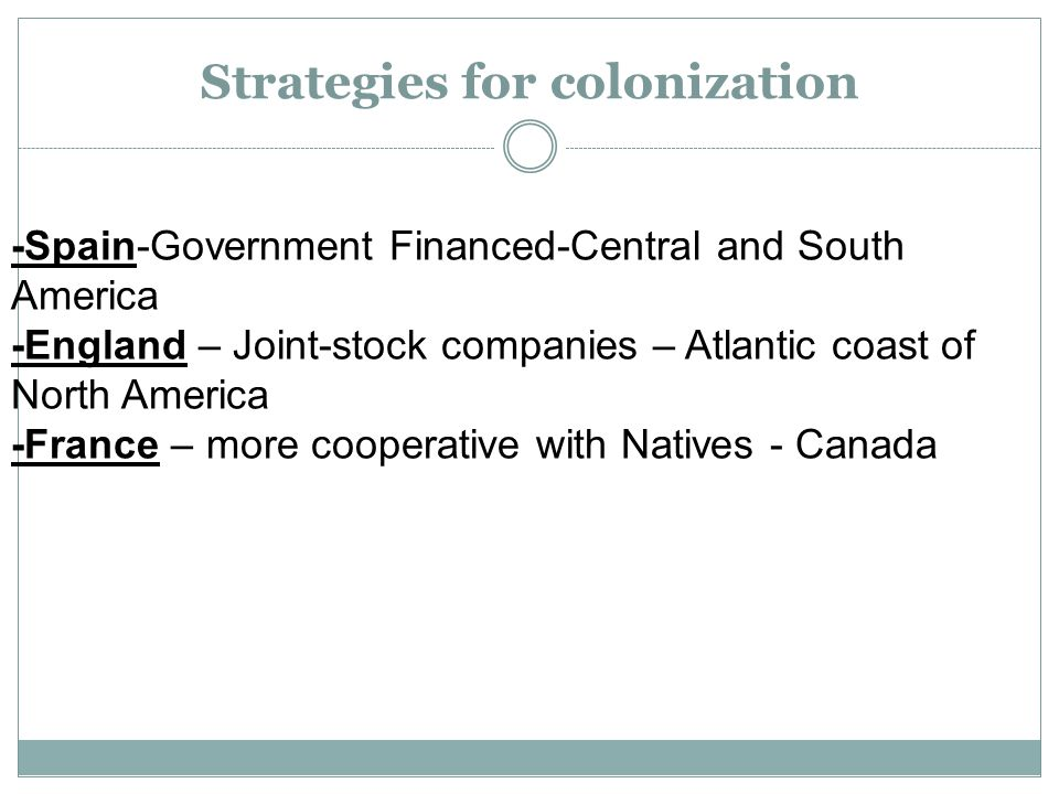 Strategies for colonization