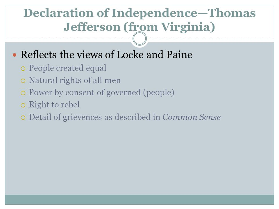 Declaration of Independence—Thomas Jefferson (from Virginia)