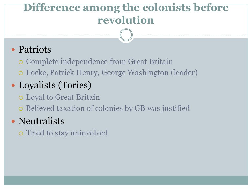 Difference among the colonists before revolution