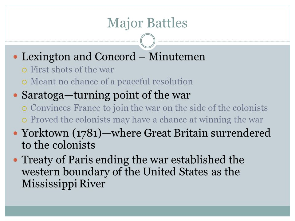 Major Battles Lexington and Concord – Minutemen