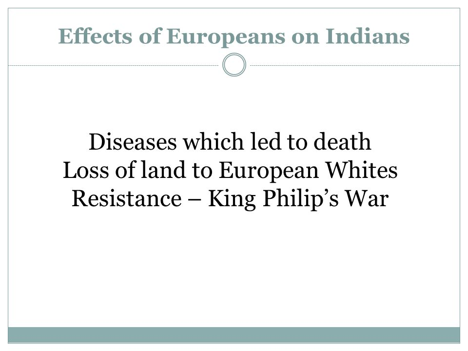 Effects of Europeans on Indians