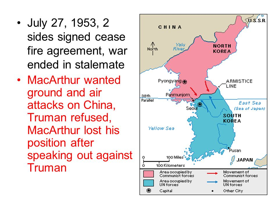 July 27, 1953, 2 sides signed cease fire agreement, war ended in stalemate