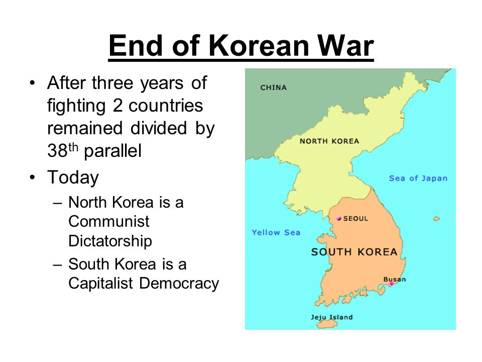 End of Korean War After three years of fighting 2 countries remained divided by 38th parallel. Today.
