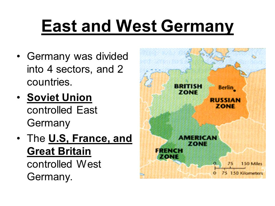 East and West Germany Germany was divided into 4 sectors, and 2 countries. Soviet Union controlled East Germany.