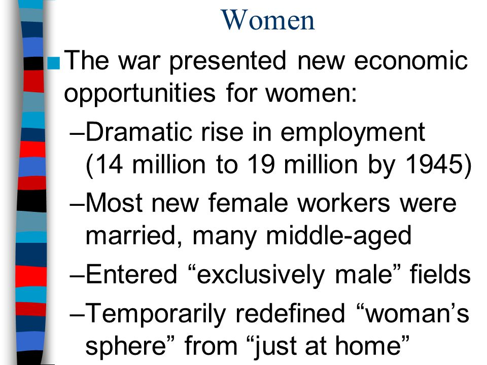 Women The war presented new economic opportunities for women: