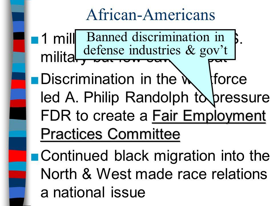 Banned discrimination in defense industries & gov't