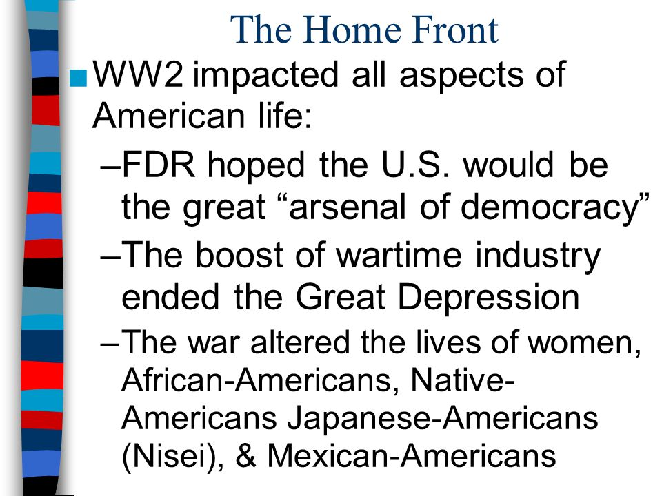 The Home Front WW2 impacted all aspects of American life: