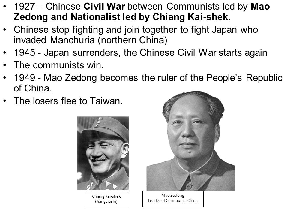 Japan surrenders, the Chinese Civil War starts again