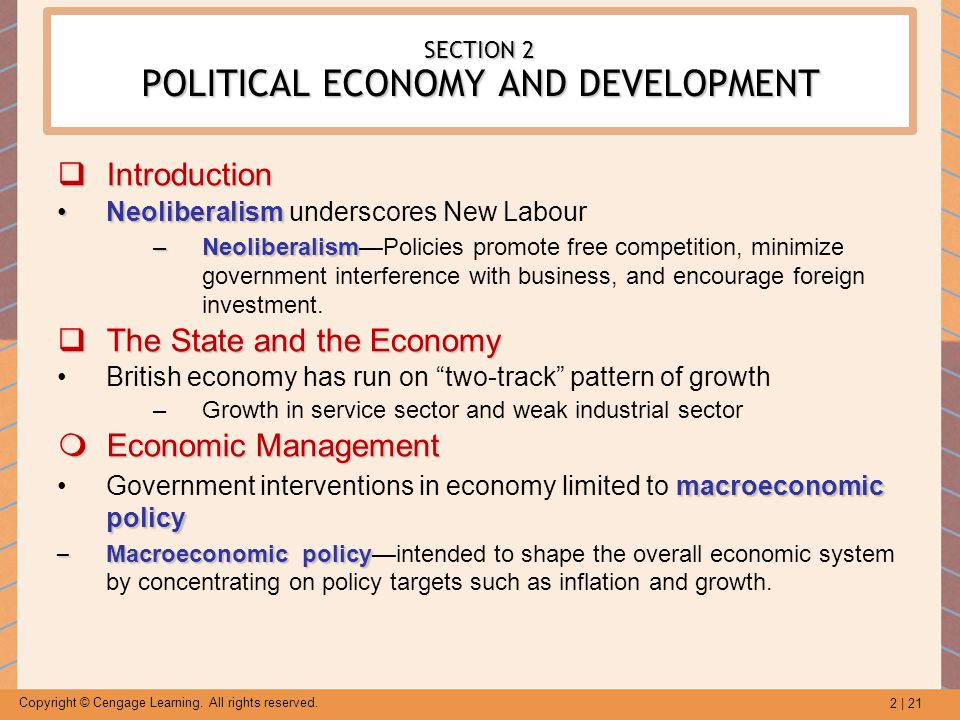 SECTION 2 POLITICAL ECONOMY AND DEVELOPMENT