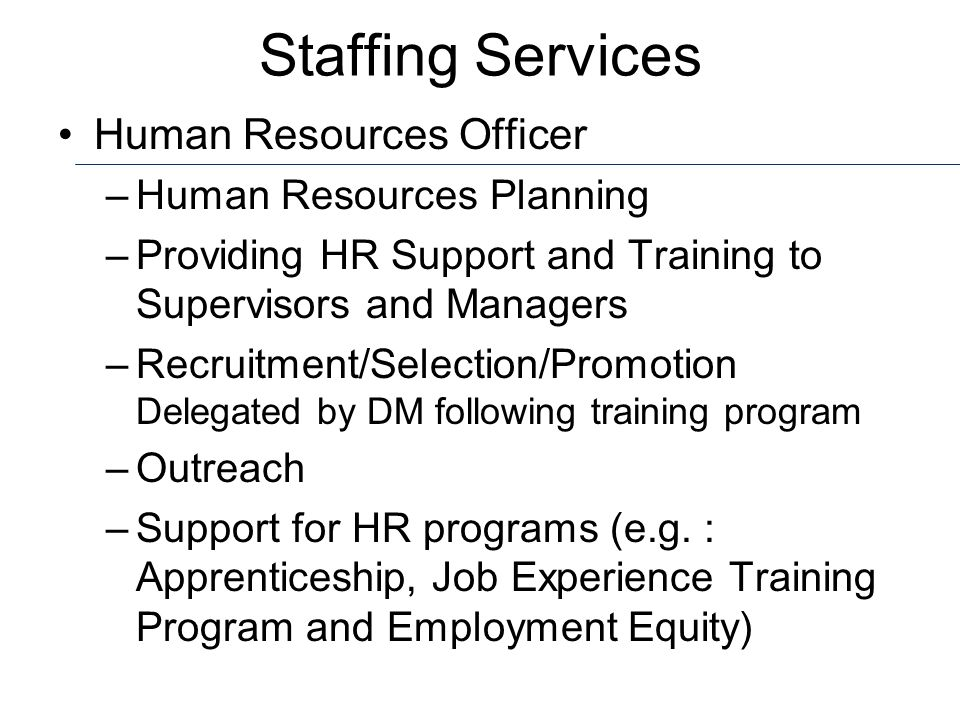 Staffing Services Human Resources Officer Human Resources Planning
