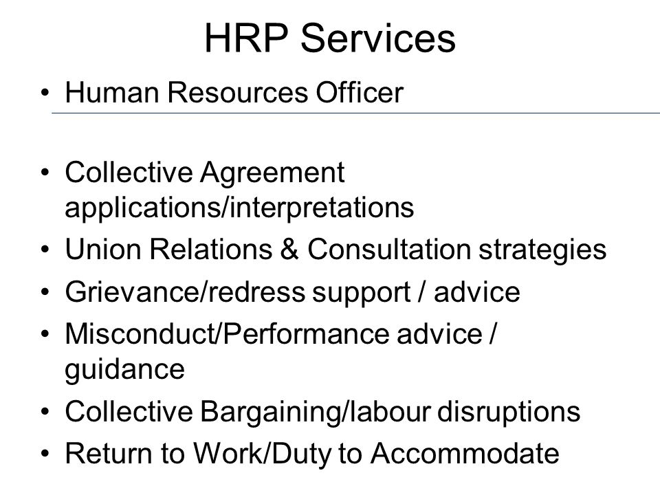 HRP Services Human Resources Officer