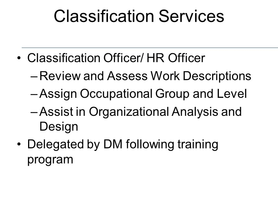 Classification Services