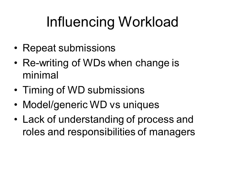 Influencing Workload Repeat submissions