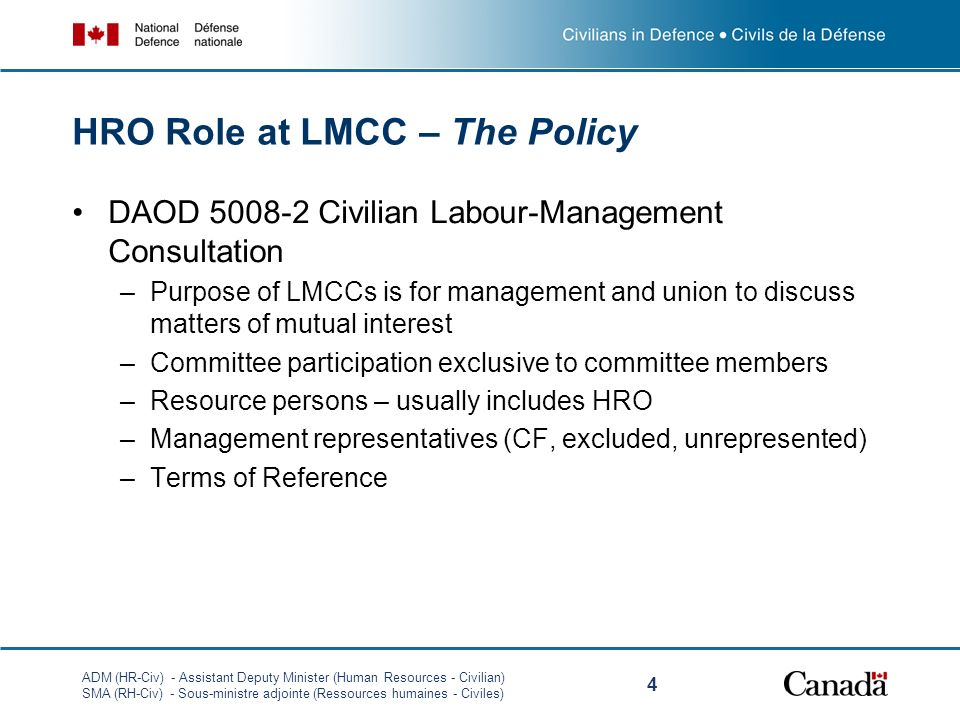 HRO Role at LMCC – The Policy