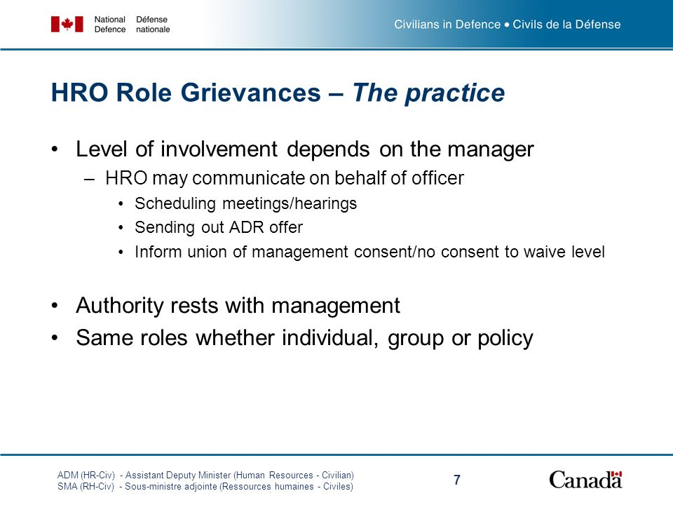 HRO Role Grievances – The practice