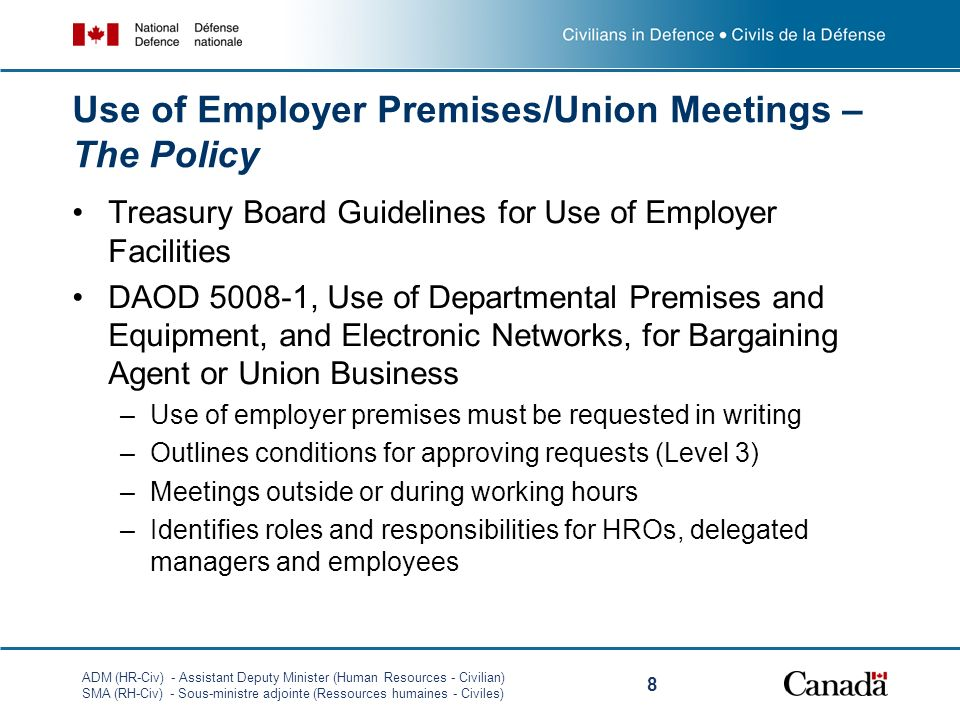 Use of Employer Premises/Union Meetings – The Policy