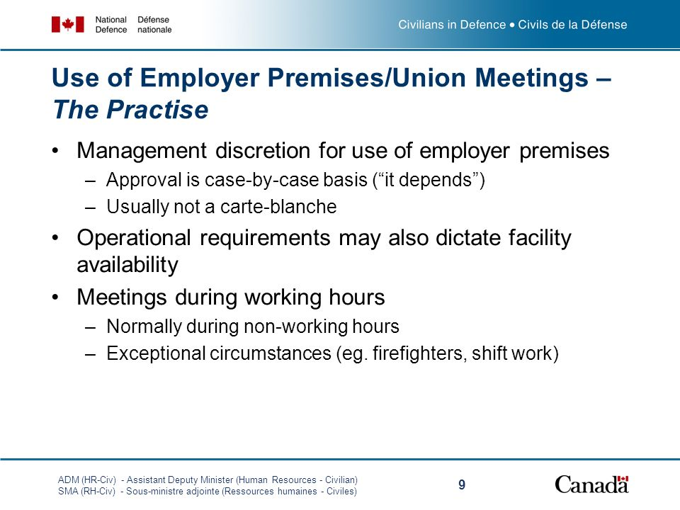 Use of Employer Premises/Union Meetings – The Practise