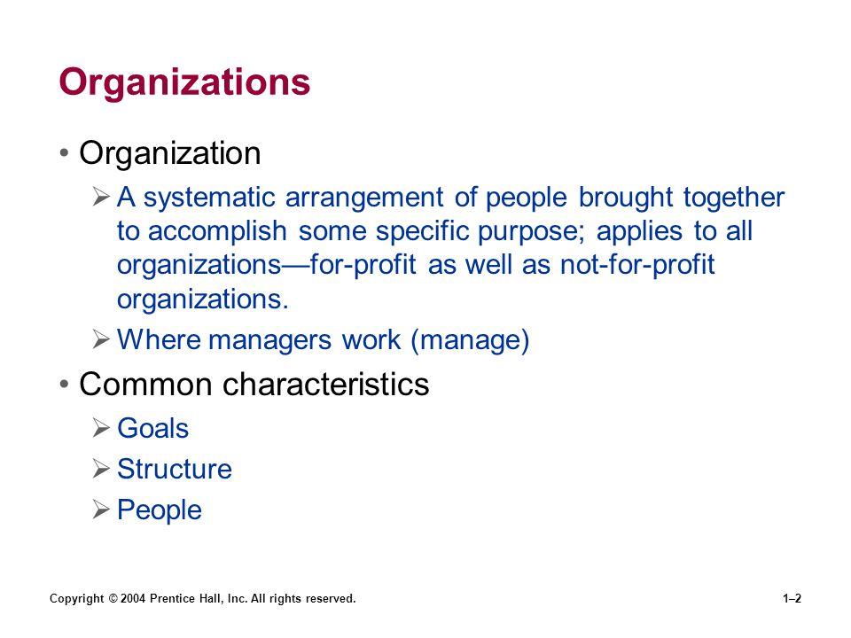 Organizations Organization Common characteristics