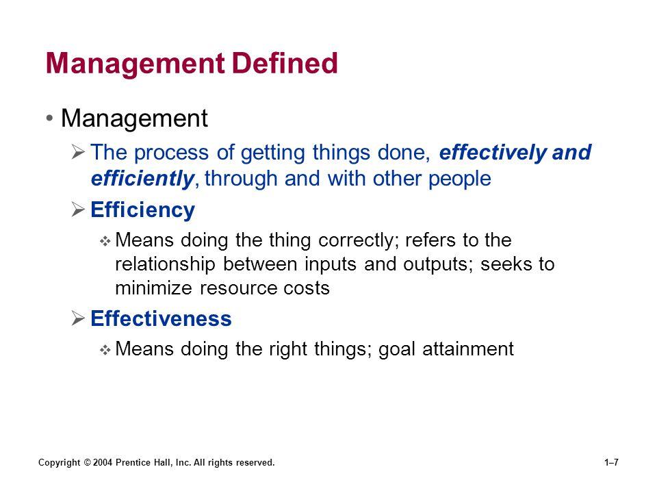 Management Defined Management