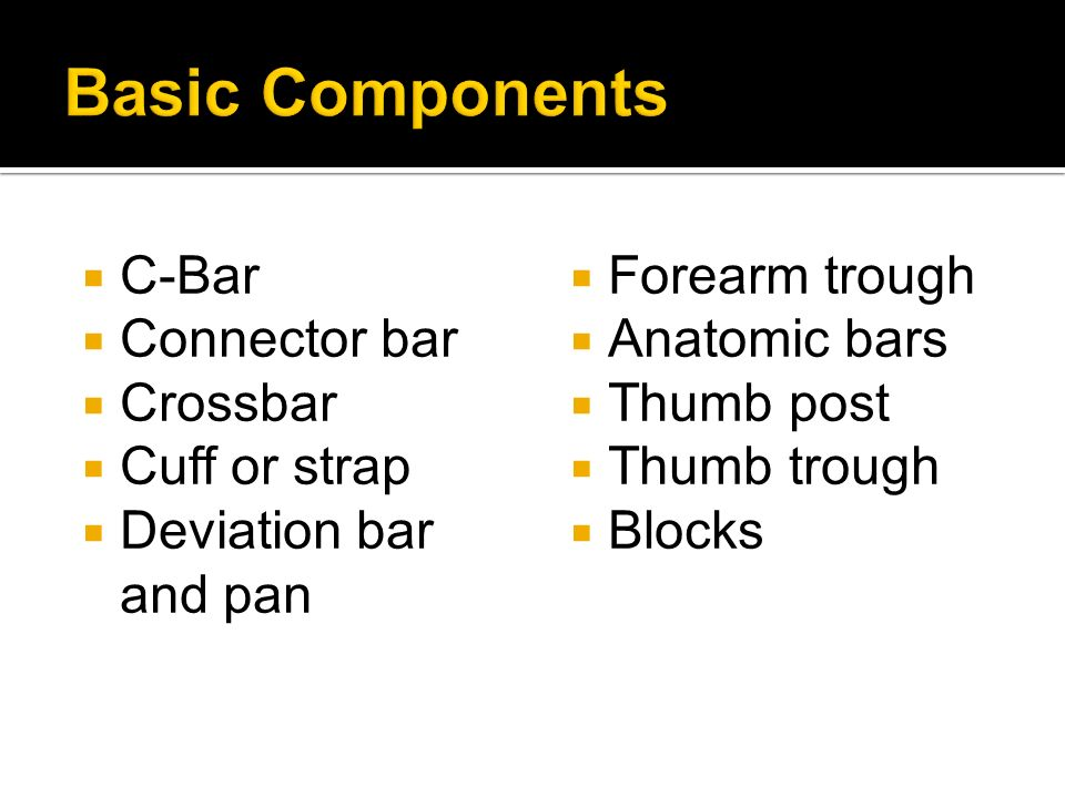 Basic Components C-Bar Connector bar Crossbar Cuff or strap