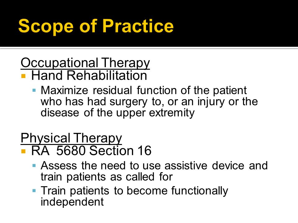 Scope of Practice Occupational Therapy Hand Rehabilitation