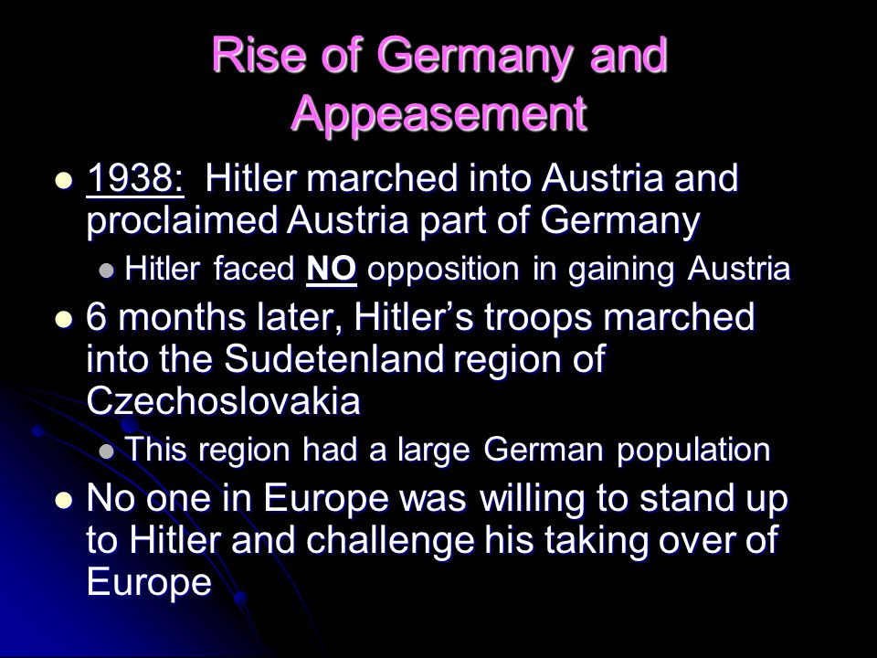 Rise of Germany and Appeasement