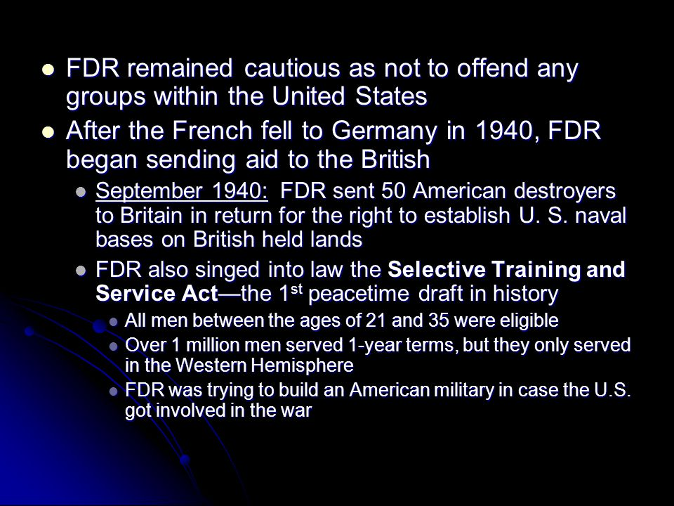FDR remained cautious as not to offend any groups within the United States