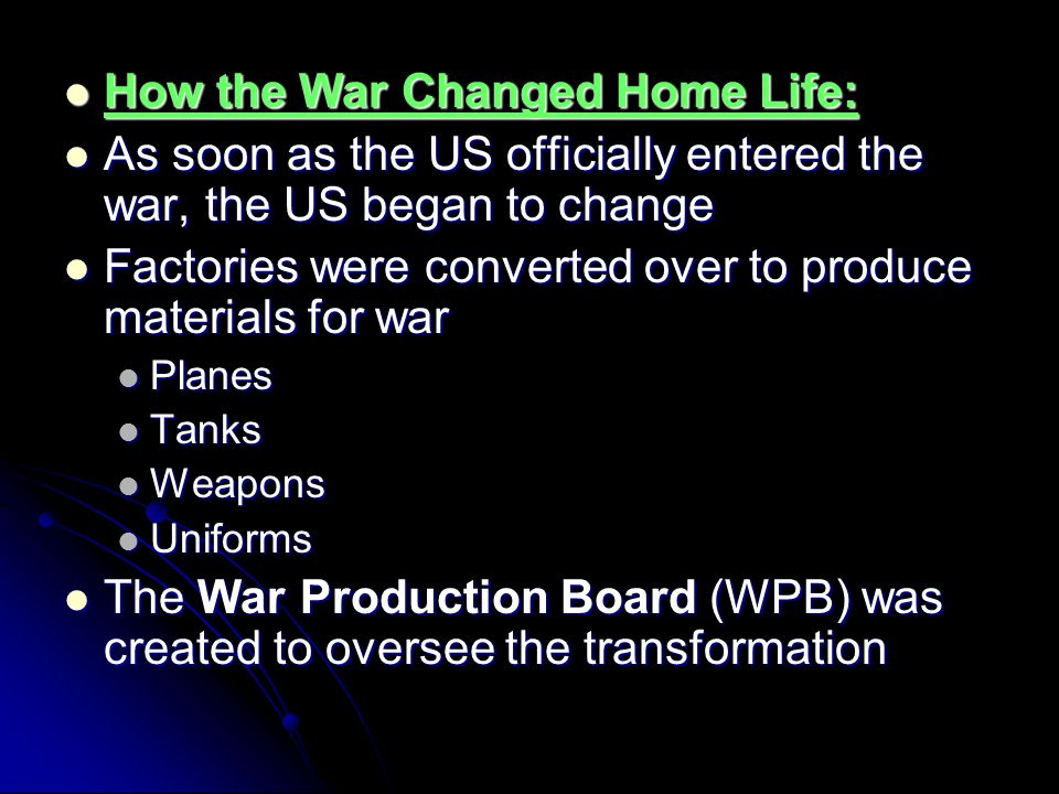 How the War Changed Home Life: