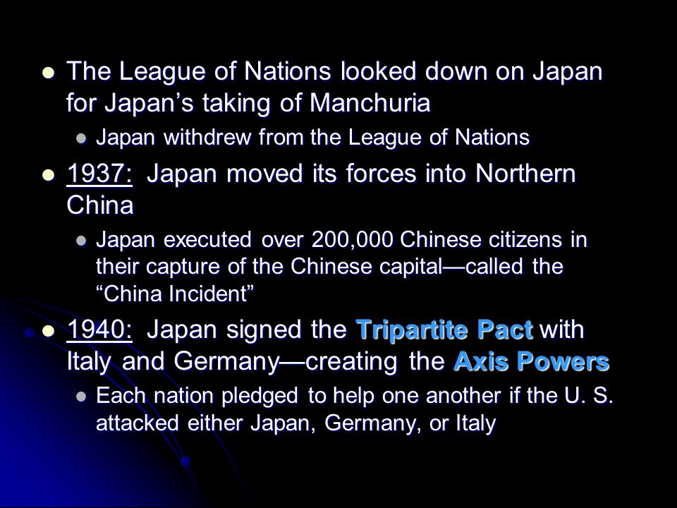 1937: Japan moved its forces into Northern China