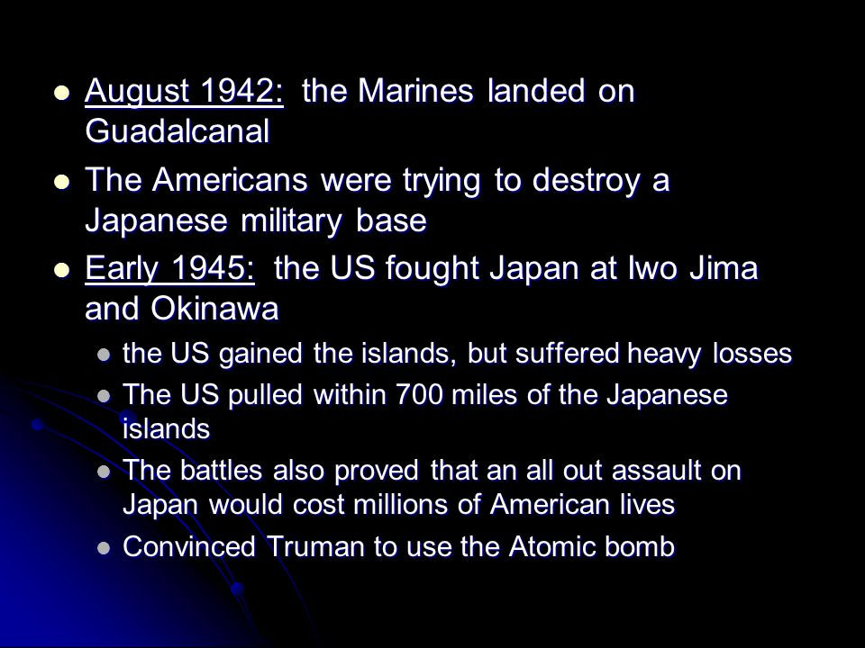 August 1942: the Marines landed on Guadalcanal