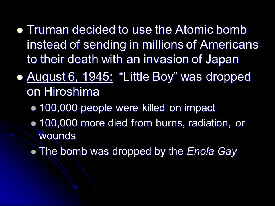 August 6, 1945: Little Boy was dropped on Hiroshima