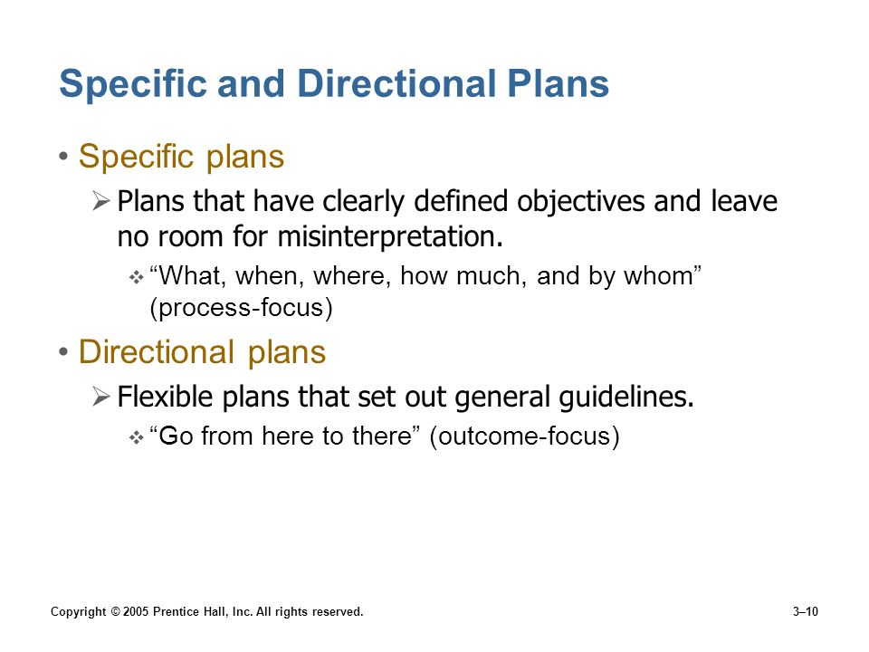 Specific and Directional Plans