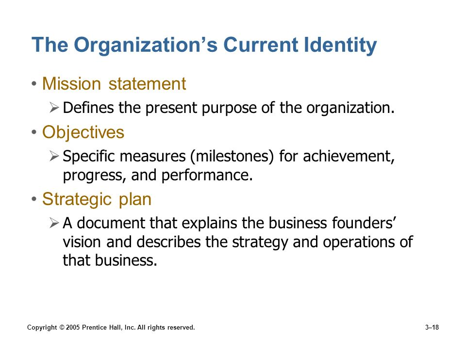 The Organization's Current Identity