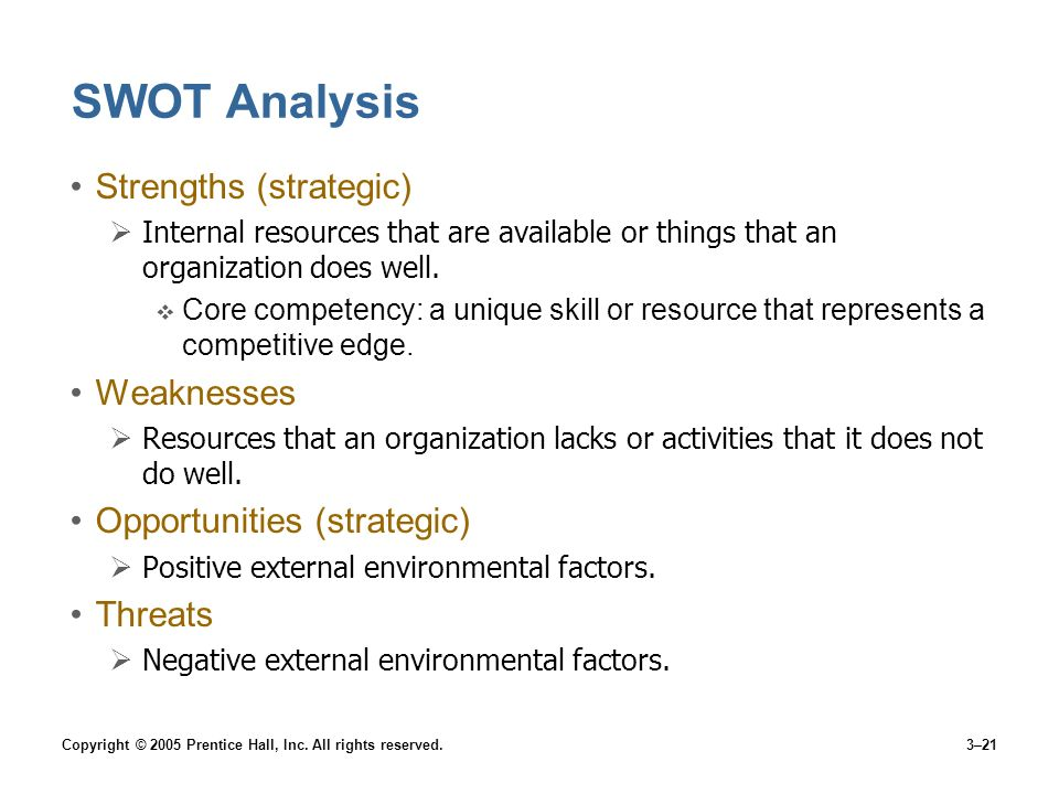 SWOT Analysis Strengths (strategic) Weaknesses