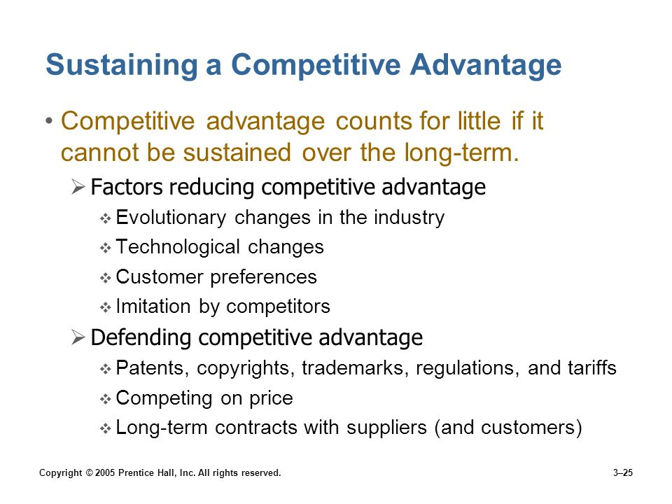 Sustaining a Competitive Advantage
