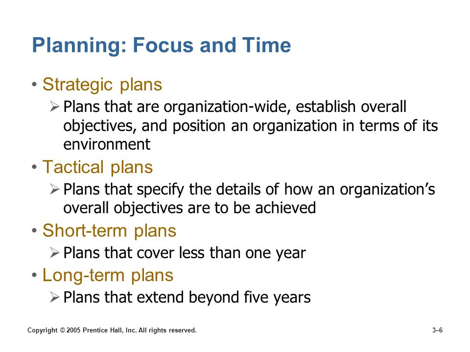 Planning: Focus and Time