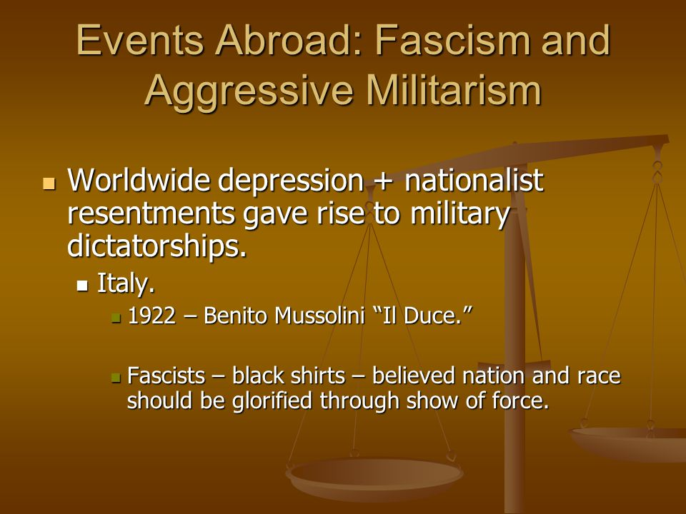 Events Abroad: Fascism and Aggressive Militarism