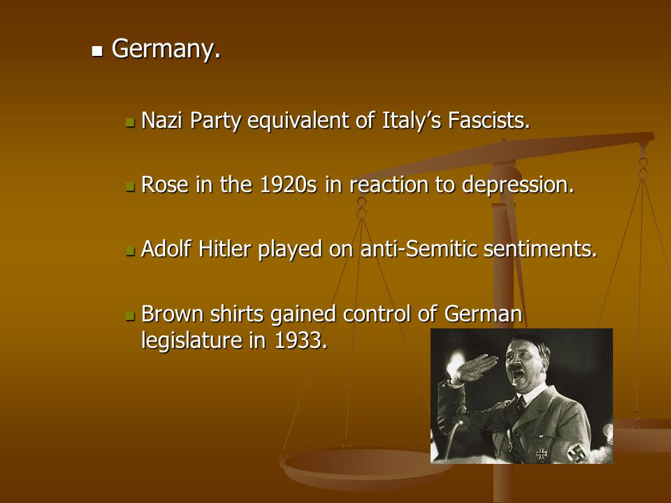 Germany. Nazi Party equivalent of Italy's Fascists.