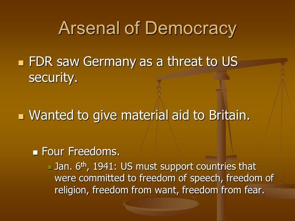 Arsenal of Democracy FDR saw Germany as a threat to US security.