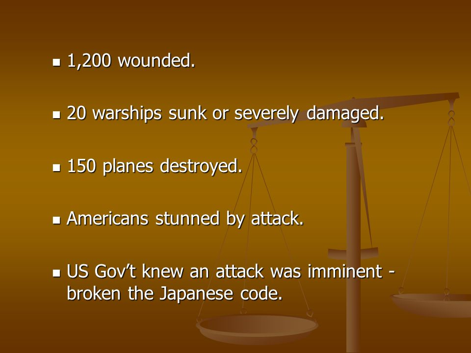 1,200 wounded. 20 warships sunk or severely damaged. 150 planes destroyed. Americans stunned by attack.