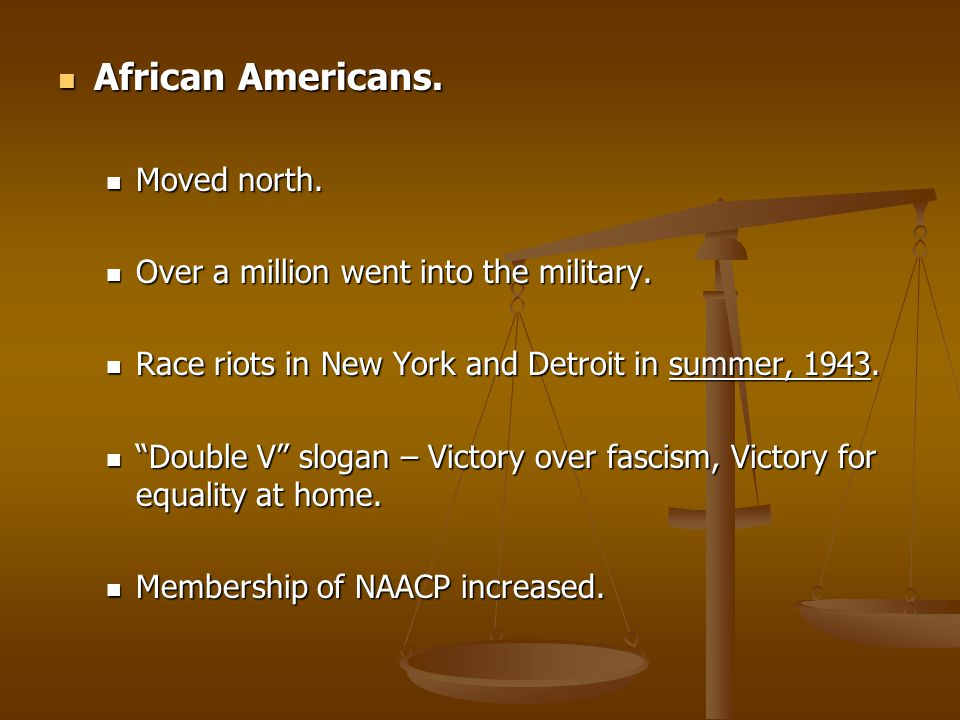 African Americans. Moved north. Over a million went into the military.