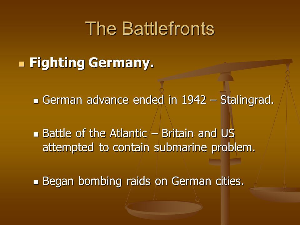 The Battlefronts Fighting Germany.